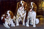 Setters Framed Prints -  English Setters by the fire Framed Print by Luisa Leger