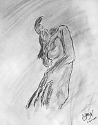 Nipple Originals -  Female Nude Figure Sketch in Monochrome Black White Charcoal Turning Away by M Zimmerman