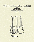 Music Drawings Metal Prints -  Fender Electric Guitar 1959 Patent Art  Metal Print by Prior Art Design