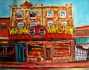 Montreal Neighborhoods Paintings -  Fifties Fruitstore by Carole Spandau