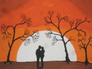 Embrace Paintings -  First Kiss by Jeffrey Koss