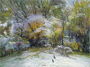 First Snow Paintings -  First Snow in the Yard by Vyacheslav Shevchenko