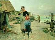 Fishing Net Framed Prints -  Fisherfolk Returning with their Nets Framed Print by Henry Bacon