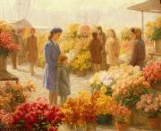 Red Bouquet Paintings -  Flower Market  by Hendrik Heyligers