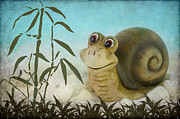 Friendly Mixed Media -  Frany the snail by Angela Doelling AD DESIGN Photo and PhotoArt
