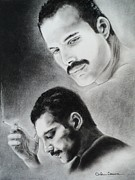 Singer Drawings -  Freddie Mercury of Queen  by Carla Carson