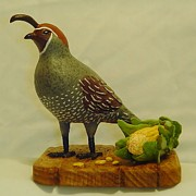 Wood Carving Sculpture Framed Prints -  Gambels Quail  Framed Print by Russell Ellingsworth