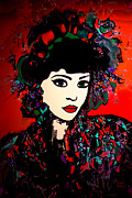 Black Background Mixed Media -  Geisha Girl by Natalie Holland