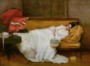 Dog Lying Down Prints -  Girl in a white dress resting on a sofa Print by Alfred Emile Stevens