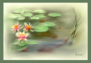 Lilly Pond Digital Art -  Gold Fish Pond by Bonnie Willis