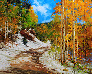 Vibrant Color Prints Paintings -  Golden aspen trees in snow by Gary Kim