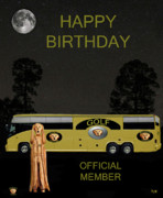 Caddies Framed Prints -  Golf  World Tour Scream Tour Bus Happy Birthday Framed Print by Eric Kempson