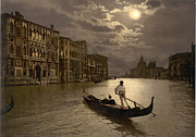Gondola Digital Art Prints -  Gondola in the moonlight Venice Italy Print by Heinz Mielke