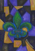 Canada Paintings -  Green Fleur de lis by Patti Schermerhorn