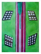 Reaction Painting Posters -  Green with Red Stripes Poster by Margaret Halsey