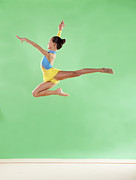 Color Stretching Posters - Gymnast,  Mid Air, Jump, Profile Poster by Emma Innocenti