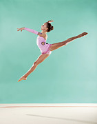 Arms Outstretched Photos - Gymnast,  Mid Air, Split, Pink Leotard by Emma Innocenti