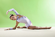 Rhythmic Prints - Gymnast, Pose, Floor, Purple Leotard Print by Emma Innocenti