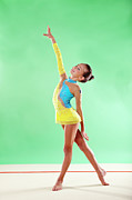 Color Stretching Prints - Gymnast, Smiling, Pose, Arm Up Print by Emma Innocenti