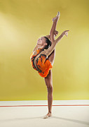 Rhythmic Framed Prints - Gymnast, Standing, Holding Back Leg Up Framed Print by Emma Innocenti