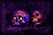 Creepy Digital Art Metal Prints -  Halloween Party  Metal Print by Xueling Zou