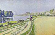 River Walk Paintings -  Herblay La River  by Paul Signac