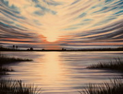 Sea Paintings -  Highlights of a Sunset by Elizabeth Robinette Tyndall