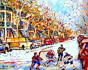 Hockey Art Painting Framed Prints -  Hockey Game On Colonial Street  Near Roy Montreal City Scene Framed Print by Carole Spandau