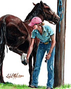 Horse Training Art Prints -  Holding Hands Print by Linda L Martin