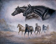 Running Horses Paintings -  Horse Painting Distant Thunder by Gina Femrite
