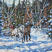 Canadian Painting Framed Prints -  Horses Hauling wood in winter by Prankearts Framed Print by Richard T Pranke