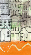 Lines Mixed Media Posters -  Houses By The River Poster by Linda Woods