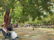 Oil Lamp Paintings -  Hyde Park - London by Count Girolamo Pieri Nerli