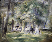 Hats Framed Prints -  In the Park at Saint-Cloud Framed Print by Pierre Auguste Renoir