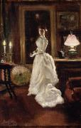 Bustle Posters -  Interior scene with a lady in a white evening dress  Poster by Paul Fischer