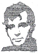 Ink Drawings Metal Prints -  Jack Kerouac Black and White Word Portrait Metal Print by Kato Smock