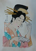 Signed Mixed Media Originals -  Japan Wood Block  Painting by Robert Tarzwell