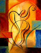 Jazz  Abstract Paintings -  Jazz Fusion by Leon Zernitsky