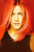 Actress Posters Mixed Media -  Jennifer Aniston Portrait C by Andre Drauflos
