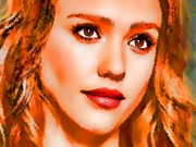 Jessica Alba Mixed Media Metal Prints -  Jessica Alba Portrait A Metal Print by Andre Drauflos