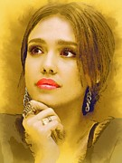 Jessica Alba Mixed Media Metal Prints -  Jessica Alba Portrait C Metal Print by Andre Drauflos