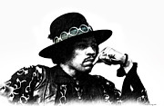 Music Legend Mixed Media Framed Prints -  Jimi Hendrix  Framed Print by Elaine Manley