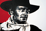 John Wayne Paintings - - John Wayne - by Luis Ludzska