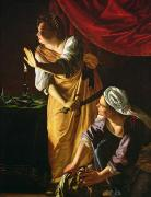 Bible Paintings -  Judith and Maidservant with the Head of Holofernes by Artemisia Gentileschi