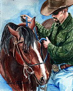 Horse Training Art Prints -  Just A Bit Print by Linda L Martin