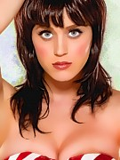 Songwriter Mixed Media Metal Prints -  Katy Perry Portrait A Metal Print by Andre Drauflos