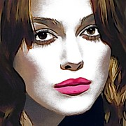 Celebrity Greeting Cards Mixed Media -  Keira Knightley Portrait by Andre Drauflos