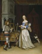 Domestic Interior Posters -  Lady at her Toilette Poster by Gerard ter Borch