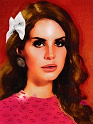 Games Mixed Media Prints -  Lana Del Rey Portrait A Print by Andre Drauflos