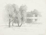 Trees Drawings Framed Prints -  Landscape - late 19th-early 20th century Framed Print by John Henry Twachtman